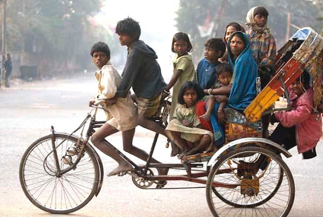 big family on bike